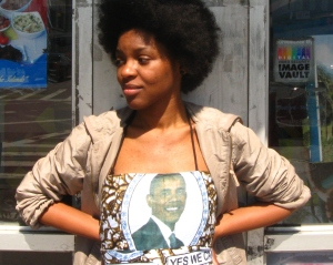 Aisha Cousins wearing her Obama dress.